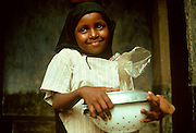 KENYA, LAMU ISLAND, RELIGON Portrait of Swahili girl