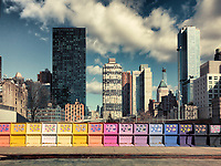 Colorful, decorated bridge with flower panels on Manhattan's West Side, NYC, U.S.A.