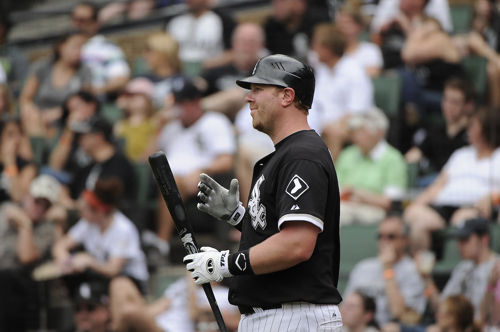 CHICAGO - MAY 22:  Adam Dunn #32 of the Chicago White Sox look on from the on-deck circle during the game against the Los Angeles Dodgers on May 22, 2011 at U.S. Cellular Field in Chicago, Illinois.  The White Sox defeated the Dodgers 8-3.  (Photo by Ron Vesely)  Subject:   Adam Dunn