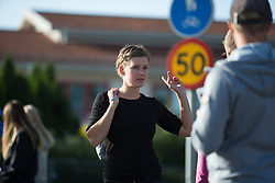 Emma Johansson (SWE) chats to locals at the Crescent Vargarda - a 42.5 km team time trial, starting and finishing in Vargarda on August 11, 2017, in Vastra Gotaland, Sweden. (Photo by Balint Hamvas/Velofocus.com)