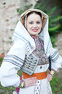 Brodsko kolo, Slavonski Brod, Croatia. Young woman from Rečica, near Karlovac, in traditional folk costume. The Brodsko kolo has been running for over 50 years, and is the oldest folk dancing festival in Croatia. © Rudolf Abraham