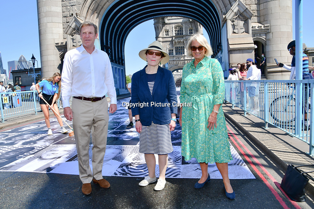 William Russell is the Lord Mayor of the City of London, Wendy Hype attend to celebrates London hosting of UEFA EURO 2020 including both semi finals and the final with thousands of poster laid along Tower Bridge on 13th June 2021, London, UK