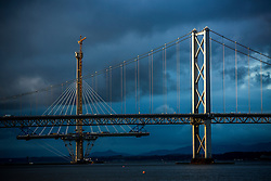 The Queensferry Crossing, the newest Forth bridge and the Forth Road Bridge, , photographed today.