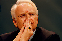 16 JAN 1999, GERMANY/MUNICH:<br /> Edmund Stoiber, CSU Vorsitzender und Ministerpräsident  Bayern, CSU Parteitag, Neue Messe, München<br /> Edmund Stoiber, Minister President of Bavaria and Chairman of the Christ Social Union, during a party conference <br /> IMAGE: 19990116-01/03-34