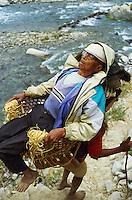 Nepal, porteurs, Les routiers de l'Himalaya, ancien combatant Gorkha porté pour aller chercher sa pension trimestrielle.  // Nepal, Porter of Himalaya, an old Gorkha military going to collect his pension every 3 mounth.