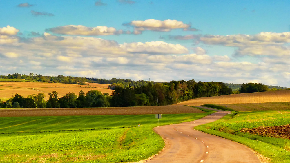 This rural road in central France went on and on through fields and forests.