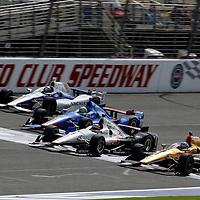 26-27 June, 2015, Fontana, California USA<br /> Ryan Briscoe, Will Power, Tony Kanaan and Marco Andretti battle for the lead<br /> ©2015, Phillip Abbott<br /> LAT Photo USA