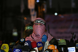 08.07.2015, Gaza city, PSE, Nahostkonflikt zwischen Israel und Palästina, im Bild Mitglieder der Hamas und radikaler Palästinensischer Organisationen, begehen den Jahrestag des letzjährigen 50 Tage Krieg gegen Israel // Abu Obaida spokesman of Ezz Al-Din Al Qassam militants gives a speech during a march marking the first anniversary of the 50-day Israeli war on Gaza Strip last summer. July 8th marks the one-year anniversary of the war between Israel and Hamas in Gaza. The 50-day conflict began after Israel said it was determined to put an end to constant rocket-fire from Gaza, launching an intense air and ground assault to do so. It was the third major conflict between Israel and Hamas militants since the Islamist group seized control of Gaza in 2007. The fighting killed more than 2,100 Palestinians, most of them civilians, as well as 73 Israelis, most of them soldiers. More than 100,000 buildings in Gaza were left damaged or destroyed. None has yet been rebuilt, Palestine on 2015/07/08. EXPA Pictures © 2015, PhotoCredit: EXPA/ APAimages/ Ashraf Amra<br /> <br /> *****ATTENTION - for AUT, GER, SUI, ITA, POL, CRO, SRB only*****