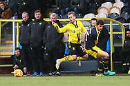 /Burton Albion midfielder David Templeton (11) is fouled by Oxford United's John Mousinho (15) during the EFL Sky Bet League 1 match between Burton Albion and Oxford United at the Pirelli Stadium, Burton upon Trent, England on 2 February 2019.