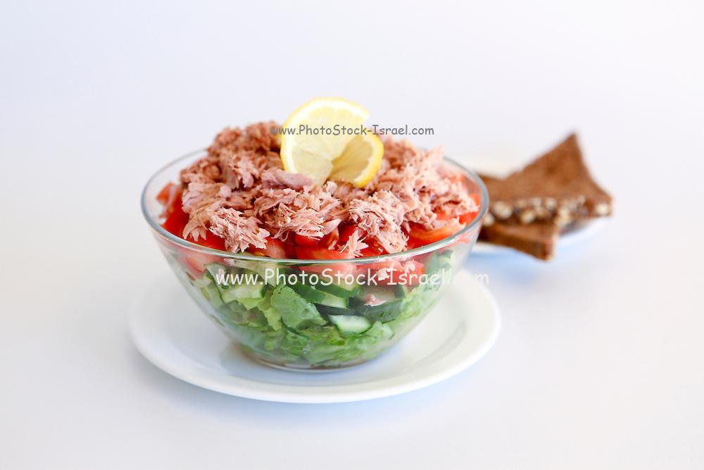 Israeli Salad Tomato and Cucumber with Tuna fish