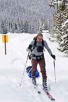 Backcountry skier pulling gear sled or pulk in Manning Provincvial Park British Columbia Canada