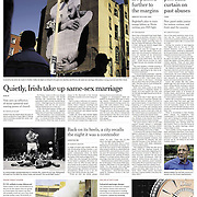 """Tearsheet of """"Gay Marriage on Ballot Shows Shift in Irish Attitudes"""" published in The New York Times (Front page)"""