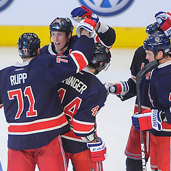 New York Rangers defenseman Marc Staal (18) celebrates his goal with line mates during second period NHL action between the Chicago Blackhawks and the New York Rangers at Madison Square Garden in New York, N.Y. The Blackhawks lead 4-1 at the second intermission.