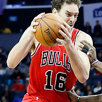 03 November 2015: Chicago Bulls forward Pau Gasol (16) drives past Charlotte Hornets center Al Jefferson (25) during the Charlotte Hornets  130-105 victory over the Chicago Bulls, at the Time Warner Cable Arena, in Charlotte, North Carolina, USA.