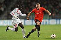 Fotball<br /> Frankrike<br /> Foto: Dppi/Digitalsport<br /> NORWAY ONLY<br /> <br /> FOOTBALL - UEFA CUP 2008/2009 - 1ST ROUND - 1ST LEG - STADE RENNAIS v FC TWENTE - 18/09/2008 - JEROME LEROY (REN) / CHEIK TIOTE (TWE)