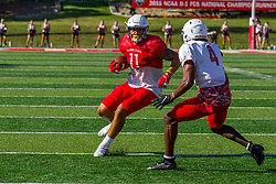 NORMAL, IL - August 14:  TANNER TAULA. Iverson Brown  during a college football pre-season scrimmage of the  ISU (Illinois State University) Redbirds August 14 2021 at Hancock Stadium in Normal, IL. (Photo by Alan Look)
