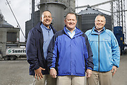 SHOT 10/29/18 9:46:06 AM - Sunrise Cooperative is a leading agricultural and energy cooperative based in Fremont, Ohio with members spanning from the Ohio River to Lake Erie. Sunrise is 100-percent farmer-owned and was formed through the merger of Trupointe Cooperative and Sunrise Cooperative on September 1, 2016. Photographed at the Clyde, Ohio grain elevator was George D. Secor President / CEO and John Lowry<br /> Chairman of the Board of Directors with  CoBank RM Gary Weidenborner. (Photo by Marc Piscotty © 2018)