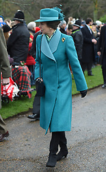 The Princess Royal arriving to attend the Christmas Day morning church service at St Mary Magdalene Church in Sandringham, Norfolk.