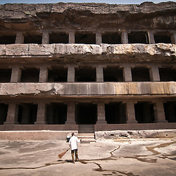 The Ellora Caves in Aurangabad, India are a World Heritage Site that was built between the 5th and 10th century. They include Buddhist, Hindu, and Jain sculptures.