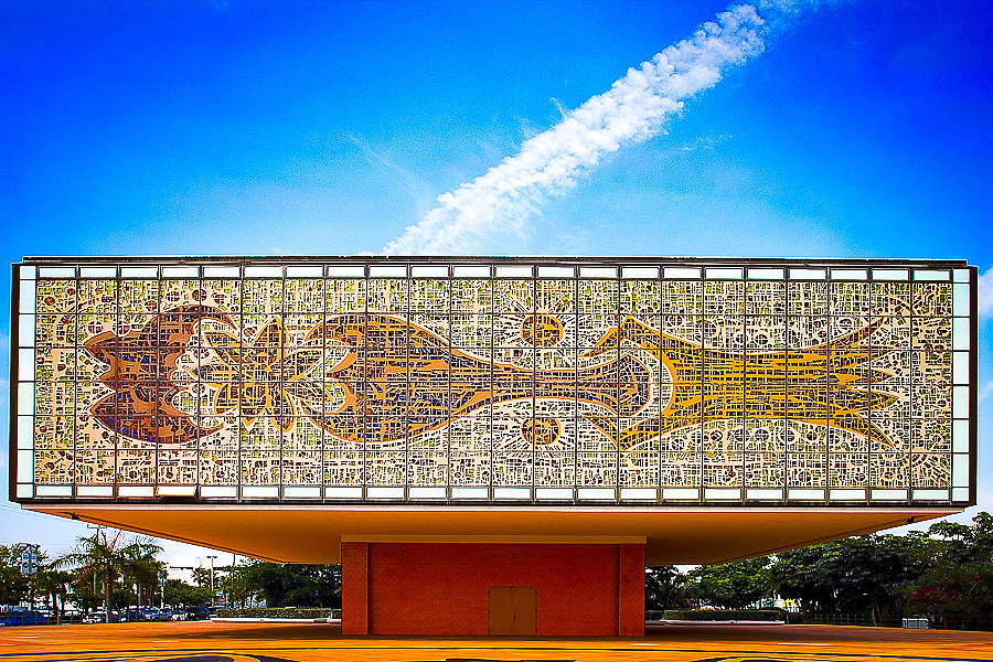 A Miami Modern building designed for the Bacardi Company in Miami by architect Ignacio Carrera-Justiz in 1973. It's covered with glass mosaics  made by Gabriel and Jacques Loire of Chartres, France, from an original painting by German artist Johannes M. Dietz.