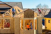 New home construction, Littleton, Colorado USA.