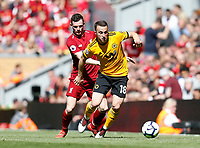 Football - 2018 / 2019 Premier League - Liverpool vs. Wolverhampton Wanderers <br /> <br /> Diogo Jota of Wolverhampton Wanderers vies with Andy Robertson of Liverpool, at Anfield<br /> <br /> COLORSPORT/BRUCE WHITE