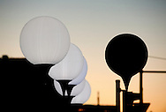 Berlin, Germany (8 November 2014). 9 November 2014 marks the 25th anniversary of the fall of the Berlin Wall, and on the preceding day some 8,000 large white illuminated balloons are placed along the course of the former Wall, ready to be released on 9 November. © Rudolf Abraham.