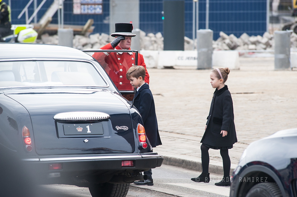 20.02.2018. Copenhagen, Denmark. <br /> Princess Josephine and Prince Vincent leaves  the Christiansborg Palace Church after the funeral service.<br /> Photo: Ricardo Ramirez.