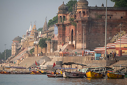 May 18, 2019 - Varanasi, India - On 18 May 2018, row boats are tied up on the Ganges River, which is considered to be holy and pure in the Hindu religion. Photo taken in the city of Varanasi, India. (Credit Image: © Diego Cupolo/NurPhoto via ZUMA Press)