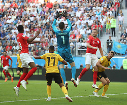 SAINT PETERSBURG, July 14, 2018  Goalkeeper Thibaut Courtois (top) of Belgium defends during the 2018 FIFA World Cup third place play-off match between England and Belgium in Saint Petersburg, Russia, July 14, 2018. Belgium defeated England 2-0 and won the third place of the 2018 FIFA World Cup. (Credit Image: © Fei Maohua/Xinhua via ZUMA Wire)