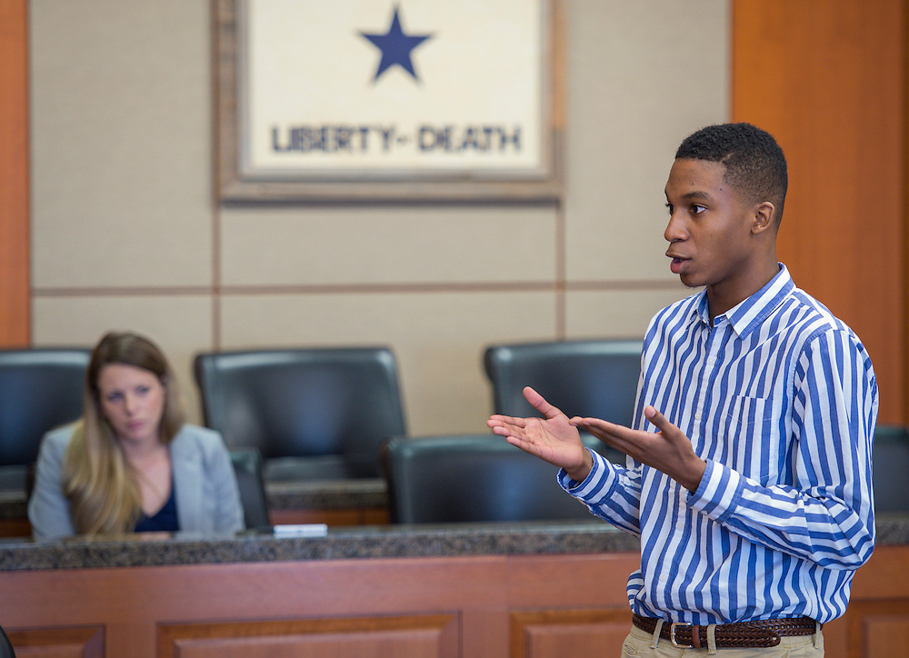 Lamar High School student Zuri Singleton participates in a mock trail at the Harris County Civil Courthouse, July 30, 2014.