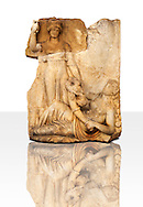Photo of Roman releif sculpture of Roma & Ge [ Earth ] from  Aphrodisias, Turkey, Images of Roman art bas releifs. Buy as stock or photo art prints.  White