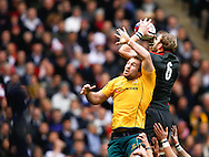 Tom Croft takes a high lineout from Rocky Elsom during the Investec series international between England and Australia at Twickenham, London, on Saturday 13th November 2010. (Photo by Andrew Tobin/SLIK images)