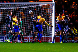 Krystian Pearce of Mansfield Town heads at goal to give Mansfield Town the lead - Mandatory by-line: Ryan Crockett/JMP - 18/03/2019 - FOOTBALL - One Call Stadium - Mansfield, England - Mansfield Town v Lincoln City - Sky Bet League Two