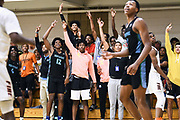NORTH AUGUSTA, SC. July 10, 2019. Jalen Haynes 2020 #12 of Nightrydas Elite 17U excited on the sideline at Nike Peach Jam in North Augusta, SC. <br /> NOTE TO USER: Mandatory Copyright Notice: Photo by Alex Woodhouse / Jon Lopez Creative / Nike