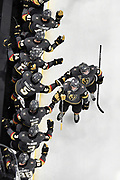 LAS VEGAS, NV - JANUARY 23: The Vegas Golden Knights celebrate after scoring a goal against the Columbus Blue Jackets during the game at T-Mobile Arena on January 23, 2018 in Las Vegas, Nevada. (Photo by Jeff Bottari/NHLI via Getty Images) *** Local Caption ***