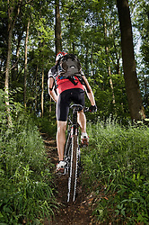 Man mountain biking, Bavaria, Germany