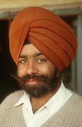 Portrait of man wearing turban,