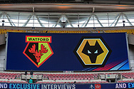 Watford FC & Wolverhampton Wanderers FC signage in the stand at Wembley Stadium ahead of the The FA Cup semi-final match between Watford and Wolverhampton Wanderers at Wembley Stadium, London, England on 7 April 2019.