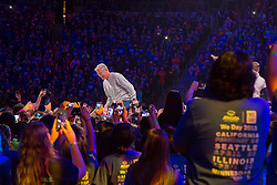 Pete Carroll andfans at We Day 2015, Seattle, Washington. Free the Chldren event which inspires youth activism and volunteering.