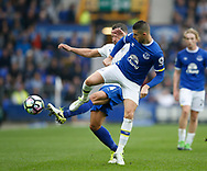 Kevin Mirallas of Everton in action with Daniel Drinkwater of Leicester City during the English Premier League match at Goodison Park Stadium, Liverpool. Picture date: April 9th 2017. Pic credit should read: Simon Bellis/Sportimage