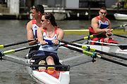 © Licensed to London News Pictures. 27/06/2012. Henley-on-Thames, UK Foreground Sam Scowen, back Left Nick Beighton, right Tom Aggar. Great Britain's rowing team for the London 2012 Paralympics was announced during Wednesday's lunch interval and the four crews rowed down the Henley course through the enclosures. Henley Royal Regatta on June 26, 2012 in Henley-on-Thames, England. The 172-year-old rowing regatta is held 27th June- 1st July 2012. Photo credit : Stephen Simpson/LNP
