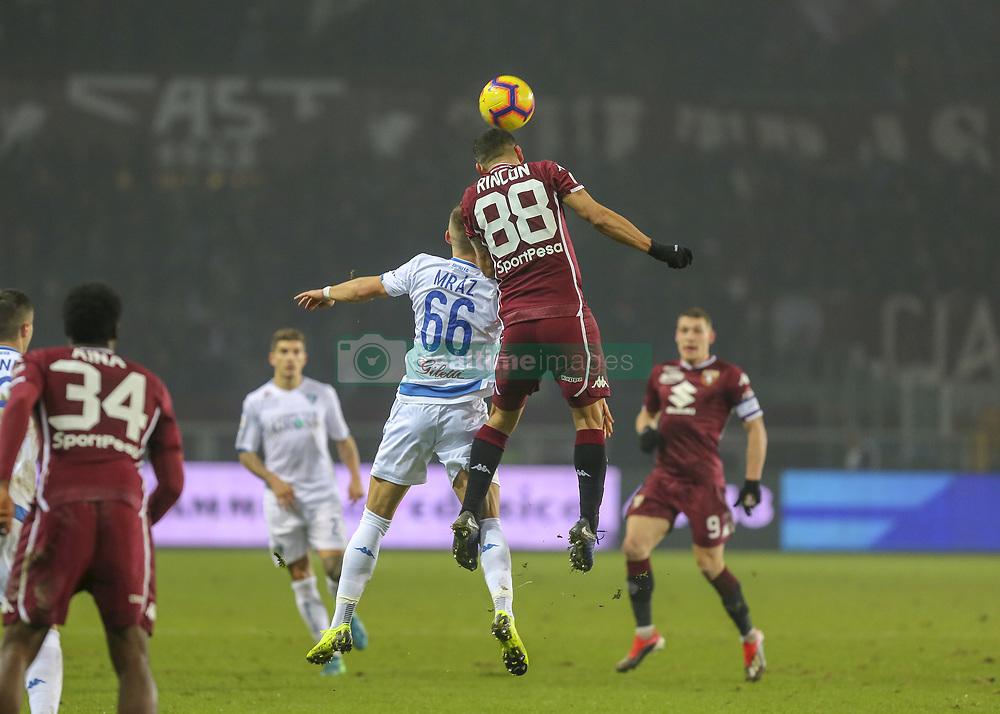 December 26, 2018 - Turin, Piedmont, Italy - Tomas Rincon (Torino FC) and Rade Krunic competes for the ball during the Serie A football match between Torino FC and Empoli FC at Olympic Grande Torino Stadium on December 26, 2018 in Turin, Italy..Torino won 3-0 over Empoli. (Credit Image: © Massimiliano Ferraro/NurPhoto via ZUMA Press)