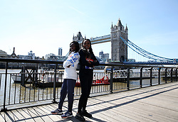 Kenya's Mary Keitany and Ethiopia's Tirunesh Dibaba poses during the media day at Tower Hotel London.