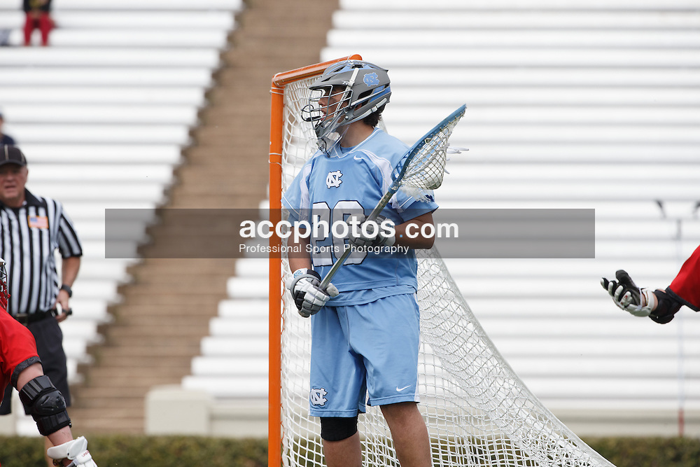 CHAPEL HILL, NC - MARCH 22: Kieran Burke #26 of the North Carolina Tar Heels during a game against the Maryland Terrapins on March 22, 2014 at Kenan Stadium in Chapel Hill, North Carolina. North Carolina won 11-8. (Photo by Peyton Williams/Inside Lacrosse)