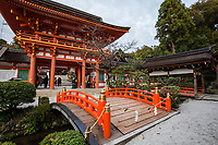 12. Shimogamo Shrine 下鴨神社 or Shimogamo jinja is an important Shinto sanctuary in Kyoto.  The shrine occupies a 'power spot' at the confluence of two rivers.  Shimogamo gives us the sense of being surrounded by nature as it sits within a forest, a remnant of a primeval forest mentioned in Tales of Genji.  The shrine is approached by a long trail through a forest of broadleaf trees.  That is what makes this forest and shrine particularly special, considering that it is within a large city.