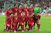 Fotball<br /> EM 2012<br /> Tyskland v Portugal<br /> 09.06.2012<br /> Foto: Witters/Digitalsport<br /> NORWAY ONLY<br /> <br /> Team Portugal oben v.l. Nani, Bruno Alves, Helder Postiga, Pepe, Cristiano Ronaldo, Torwart Rui Patricio<br /> unten v.l. Joao Moutinho, Joao Pereira, Raal Meireles, Fabio Coentrao, Miguel Veloso<br /> Fussball EURO 2012, Vorrunde, Gruppe B, Deutschland - Portugal<br /> <br /> Lagbilde Portugal