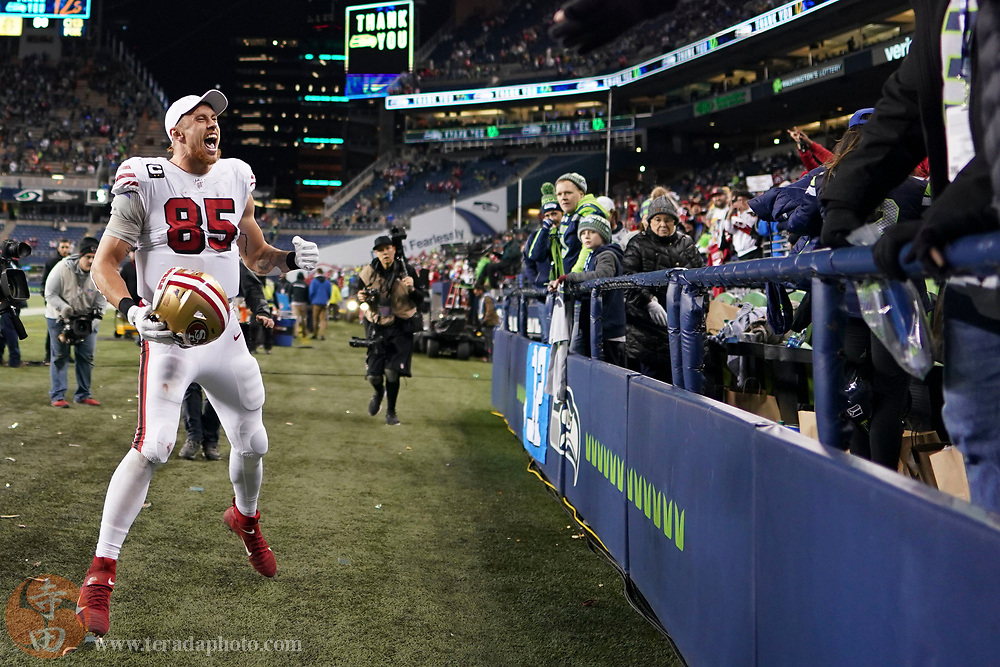 December 29, 2019; Seattle, Washington, USA; San Francisco 49ers tight end George Kittle (85) celebrates after the game against the Seattle Seahawks at CenturyLink Field.