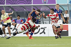 September 20, 2019, Tokyo, Japan: Russia's Dimitry Gerasimov is tackled by Japan's William Tupou during the Rugby World Cup 2019 Pool A match between Japan and Russia at Tokyo Stadium. Japan defeats Russia 30-10. (Credit Image: © Rodrigo Reyes Marin/ZUMA Wire)