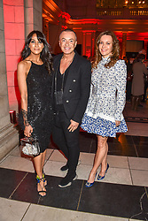 Left to right, Jackie St.Clair, Julien Macdonald and Kimberleigh Gelber at the Mary Quant VIP Preview at The Victoria & Albert Museum, London, England. 03 April 2019. <br /> <br /> ***For fees please contact us prior to publication***